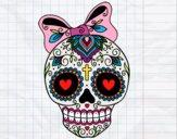 Desenho Caveira mexicana com laço pintado por gabycara