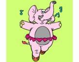 Desenho Elefante com tutú pintado por CFerrari