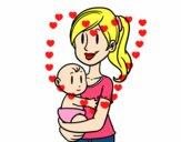 Desenho Em braços da mãe pintado por paloma-03