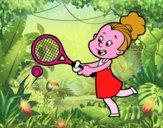 Menina jogando o tênis