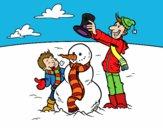 Desenho Pai e filho na neve pintado por paloma-03