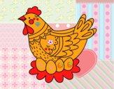Galinha com ovos de Páscoa