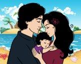 Desenho Família abraço pintado por sapinho