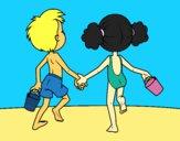 Desenho A menina eo menino na praia pintado por S2Assilene