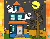 Desenho Casa do terror pintado por luzinda