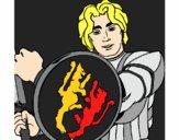 Desenho Cavaleiro com escudo de leão pintado por wandersong