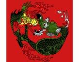 Desenho Dragão na bola pintado por marilurdes