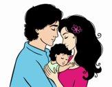 Desenho Família abraço pintado por bellasj