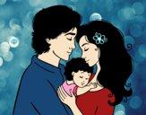 Desenho Família abraço pintado por brunna2004