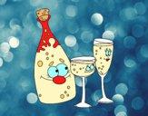 Desenho Garrafas de champanhe e taças pintado por marilurdes
