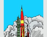 Desenho Lançamento foguete pintado por marilurdes