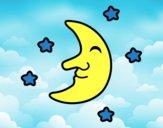 Desenho Lua com estrelas pintado por Margarida-
