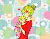 Desenho Mãe levando o bebê pintado por S2Assilene