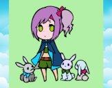 Desenho Menina com coelhinhos pintado por KarenWolf
