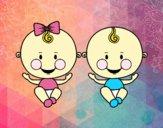 Menino e menina gêmeos