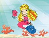 Desenho Sereia e medusa pintado por marilurdes