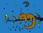 Desenho O gato ea luna pintado por Nilton27