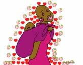Africana com pano porta-bebé
