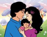 Desenho Família abraço pintado por eloiza