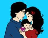 Desenho Família abraço pintado por luzinda