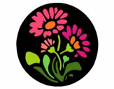 Desenho Gravado com flores pintado por Catita