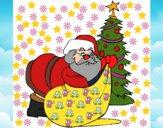 Desenho Pai Natal a distribuir presentes pintado por @Godoi