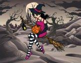 Desenho Bruxa do Halloween pintado por ImShampoo