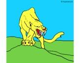 Tigre com dentes afiados