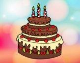 Desenho Torta de Aniversário pintado por MelDeAbelh