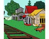 Desenho Estação de comboio pintado por Loreninhaa