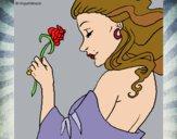 Desenho Princesa com uma rosa pintado por aliz