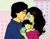 Desenho Família abraço pintado por elainebuen