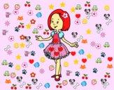 Desenho Menina com vestido de princesa pintado por abcdefgh