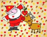 Desenho Papai Noel e Rudolf pintado por Jack50