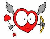 Desenho Coração Cupido pintado por cabe