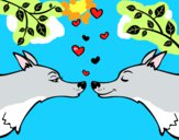 Desenho Lobos apaixonados pintado por WolfGirl
