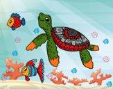 Desenho Tartaruga de mar com peixes pintado por Andreamarc