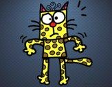 Um gato com bolinhas