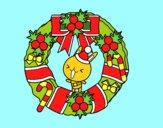 Desenho Guirlanda de Natal e coelhito pintado por soraya lim