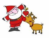 Desenho Papai Noel e Rudolf pintado por Ruben_R