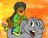Rei Baltasar a elefante