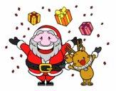 Desenho Santa e rena com presentes pintado por Ruben_R