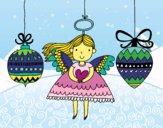 Desenho Anjo e enfeites de Natal pintado por LuadeLuzz