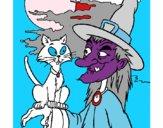 Bruxa e gato