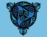 Desenho Mandala com três pontos pintado por loheth