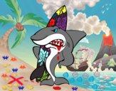 Desenho Tiburão surfista pintado por janapiires