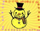 Um boneco de neve com chapéu