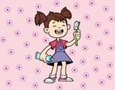 Menina com escova de dentes