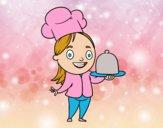 Cozinheira com bandeja