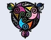 Desenho Mandala com três pontos pintado por Lemaro